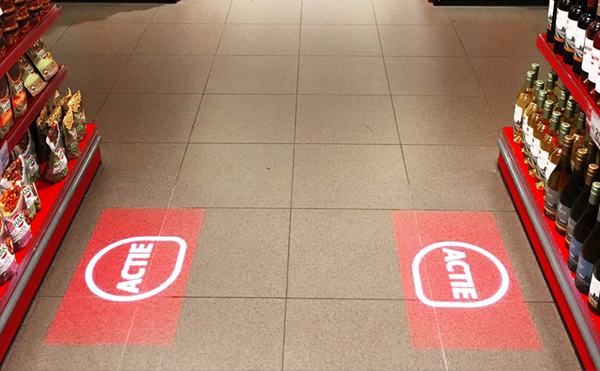 LEDプロジェクターロゴライト・ゴボライトの設置イメージストアのワンポイント