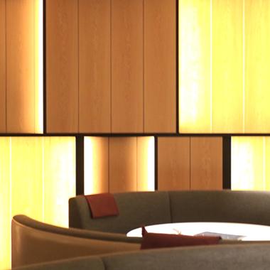 業務用LEDテープライト(間接照明)を壁面に施工した例